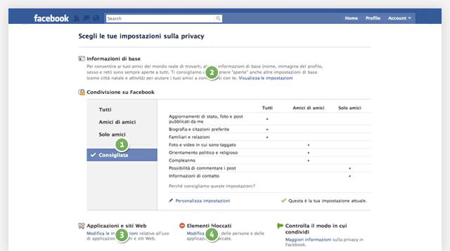 Pagina delle impostazioni sulla privacy