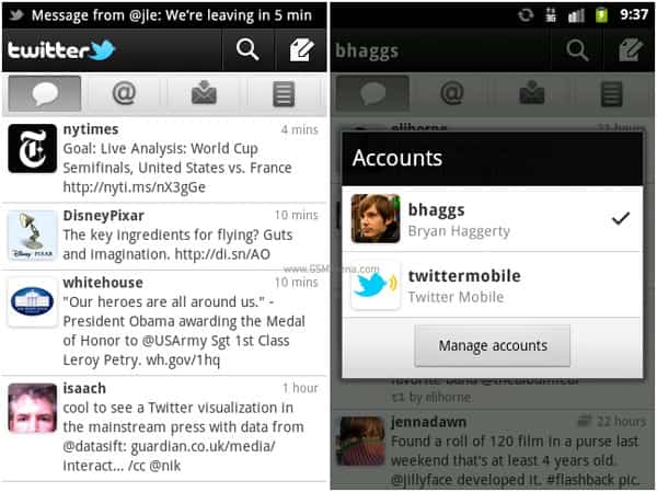 gsmarena 001 Twitter for Android updated, gets push notification and multiple accounts support