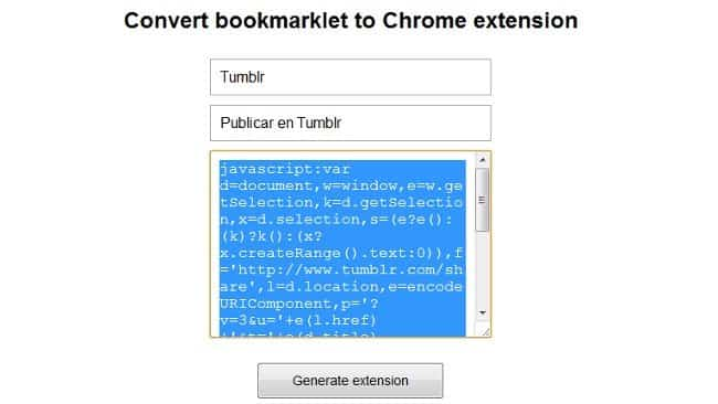 convertir bookmarklet extension chrome 1