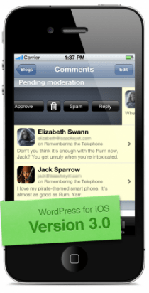 wordpress ios 3 0 swipe to moderate