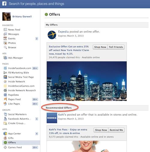 Ofertas Recomendadas Facebook