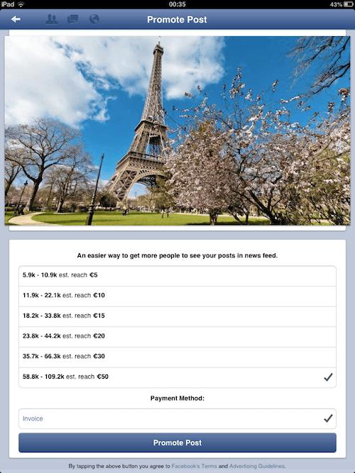 promoción post Facebook