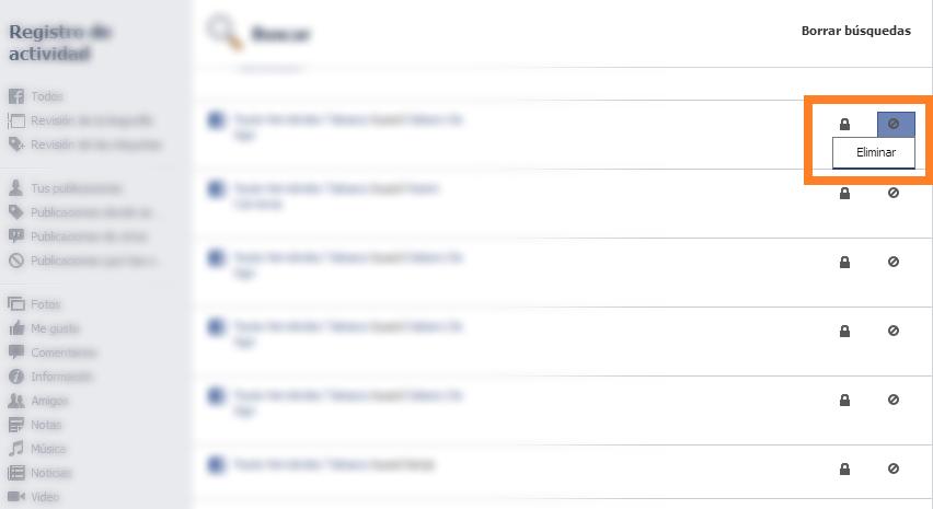 cómo eliminar el historial de facebook 5