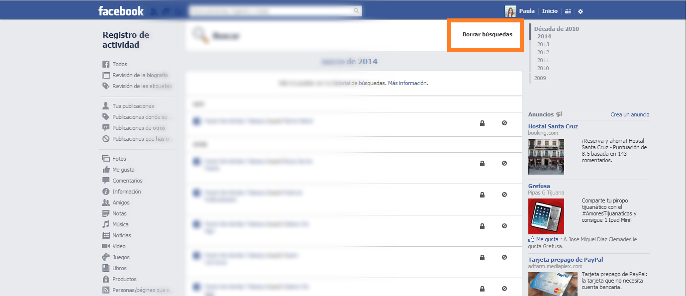 cómo eliminar el historial de facebook 6