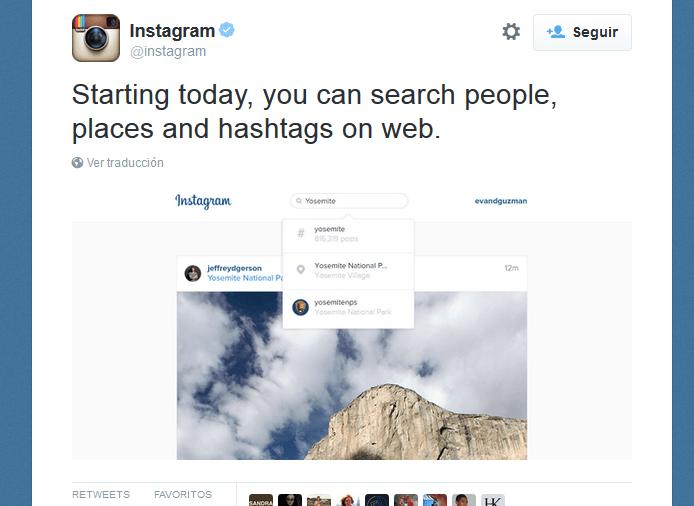 buscador en versión web de instagram