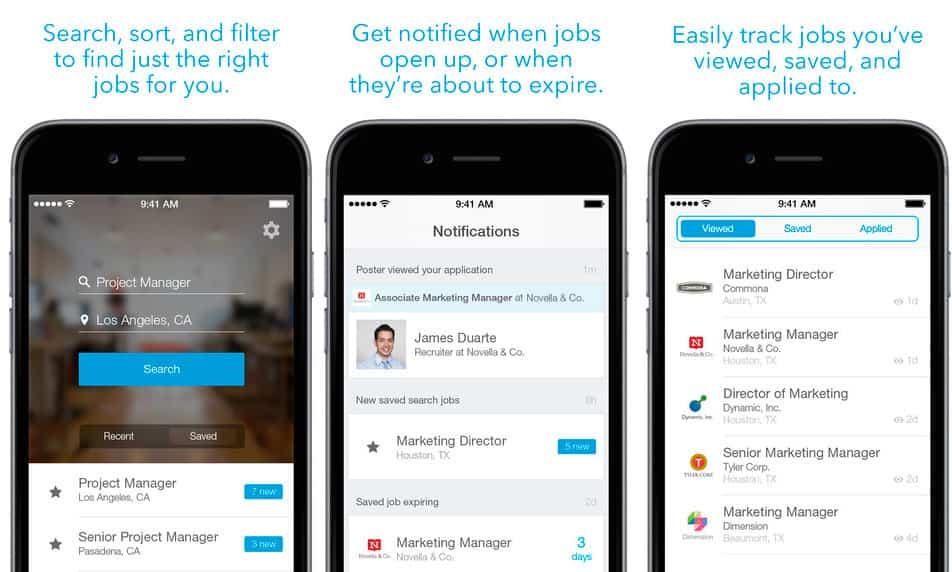 Utilización de app LinkedIn Job Search en pantalla de dispositivo móvil